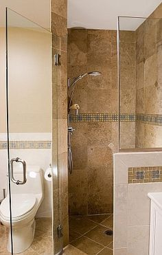 corner shower and free standing toilet