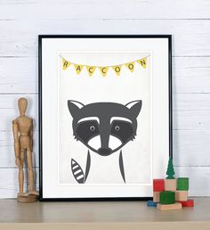Retro poster - raccoon, forest animals - vintage print, A4, nursery wall decoration, retro wall decor, heart, cute baby animal