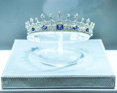 Sapphire Coronet at exhibition, possibly at the V&A
