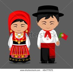 Imagens, fotos stock e vetores similares de Portuguese in national dress with a flag. Man and woman in traditional costume. Travel to Portugal.