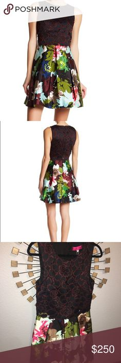 """Trina Turk emmalee dress 8 A stunning combination of lace and floral print is sure to make the Emmalee Dress your holiday favorite. The fitted lace overlay bodice in rich tones of black and burgundy compliments the swingy pleated floral skirt. An effervescent piece for all your dressed up gatherings. Lined. Hidden back zipper. Dry clean.  Measures: 36"""" L   Brand: Trina Turk Made in: United States  Fiber Content: 49% cotton, 41% rayon, 10% silk (View Fabric Guide) Trina Turk Dresses"""