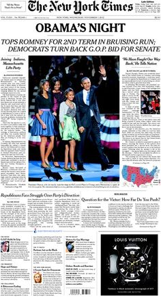 Front page news, New York Times, November 7, 2012