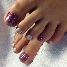 50 adorable Summer Toe Nail Art Inspiration for Summer, the Beginning Pleasure . - 50 Adorable Summer Toe Nail Art Inspiration for Summer, The Pleasure to Start – 35 Pretty Toe Nails, Cute Toe Nails, Fancy Nails, Purple Toe Nails, Purple Pedicure, Polka Dot Pedicure, White Pedicure, Purple Toes, Chevron Nails