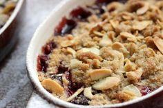 Vintage Kitchen Notes: Cherry Almond Crumble - small batch - #SRC