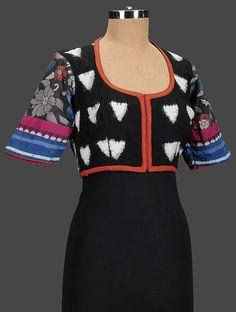 Buy Black White Blue Embroidered Cotton Blouse Women Blouses Elegant Companions Kutch with zari Online at Jaypore.com Salwar Designs, Blouse Designs, Kalamkari Blouses, House Of Blouse, Designer Blouse Patterns, Cropped Tops, Sari Blouse, Beautiful Blouses, Blouse Online