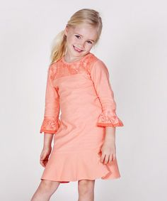 Look what I found on #zulily! Papaya Lace Three-Quarter Sleeve Dress - Infant, Toddler & Girls by Jelly the Pug #zulilyfinds