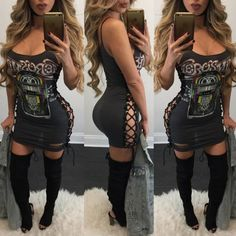 Women Sexy Side Lace-up Printed Mini Dress