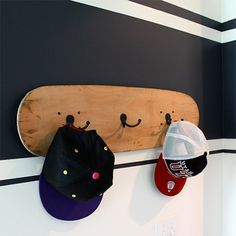 Before and after teen boys bedroom makeover skateboard coat rack. The coat rack…
