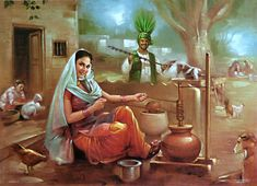Old Punjabi Culture : Churning Curd to Make Butter