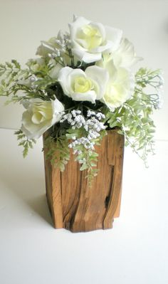 Rustic Wedding Wooden Vase Holder Or Rustic Home Decor. $16.95, via Etsy.
