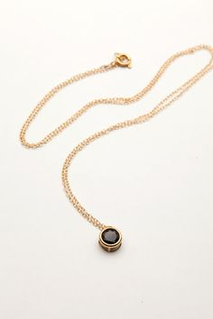 Black Spinel Pendant Necklace by RitaYmaJewelry on Etsy,