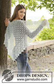 "First Frost - Knitted DROPS shawl with lace pattern. Shown in ""Lace"" and ""BabyAlpaca Silk"" from yarn group A. - Free pattern by DROPS Design"