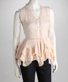 This Blush Lace Ruffle Peplum Top is perfect! #zulilyfinds