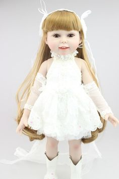 58.86$  Buy here - http://alikef.worldwells.pw/go.php?t=32497358612 - AMERICAN PRINCESS 45CM  girl doll Blond long hair wedding dress doll reborn  best lover gift birthday gift for girls toys 58.86$