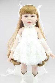 58.86$  Buy here - http://alikef.worldwells.pw/go.php?t=32497358612 - AMERICAN PRINCESS 45CM  girl doll Blond long hair wedding dress doll reborn  best lover gift birthday gift for girls toys 58.86$