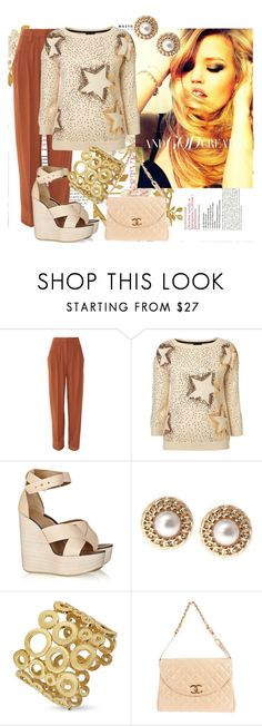 """Solid Gold"" by keira18 ❤ liked on Polyvore featuring Sonia by Sonia Rykiel, Chloé, Ziba, AZ Collection, Chanel, fisherman's sweaters, wedge shoes, blonde and chanel"