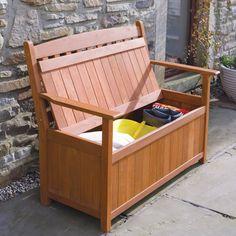 Clever little garden bench with hidden storage!