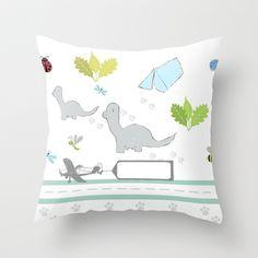 Dino Friends Throw Pillow by Drape Studio - $20.00  http://society6.com/drapestudio/dino-friends_pillow#25=193&18=126