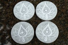 Hand carved natural stone Marble coasters Abstract by SAGaStone