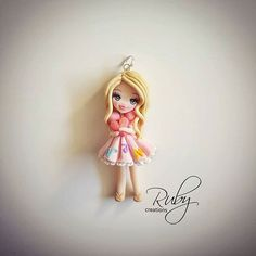 Ruby personalized doll, custom made.  #polymerclay #doll #personalized #customorder #fimo #cute #letters #pink #blonde #heart #glitter #instagood #instalike #instadoll #jewelrygram #jewelry #necklace #pendant #rubycreations