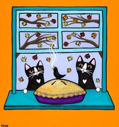 The Apple Pie Original Cat Folk Art Painting by KilkennycatArt (Ryan Conners)