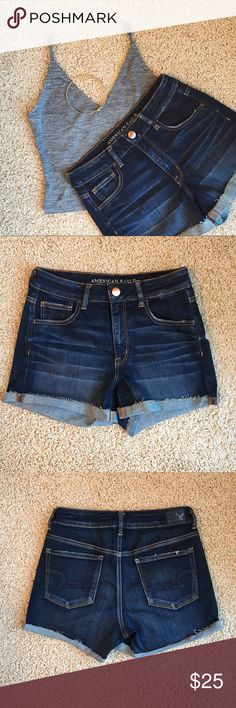 American Eagle high-rise denim shorts American Eagle. High-rise shorties. Dark wash. Super stretch. Worn once. Like-new condition. American Eagle Outfitters Shorts