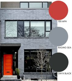 Grey brick with a painted red door. These modern exterior paint colors are perfect for your home. The best resource for modern color schemes that will look good on any home exterior. Best House Colors Exterior, Modern House Colors, Modern Brick House, Exterior Paint Color Combinations, Best Exterior Paint, Exterior Color Schemes, House Paint Exterior, Exterior Gris, Modern Exterior