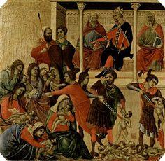 Duccio di Buoninsegna - Predella della Maestà (fronte) - La strage degli innocenti - 1308-11 - Tempera e oro su tavola - Museo dell'Opera del Duomo, Siena