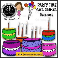 Party Clip Art, Cake, Candles, Balloons GIF Animations, Celebrations Graphics Black And White Gif, Cork Art, Text Overlay, Colorful Cakes, Task Cards, Teacher Resources, Animated Gif, Party Time, Celebrations