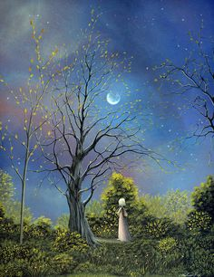 The Night Calls To Her. Fantasy Forest Fairytale Art By Philippe Fernandez
