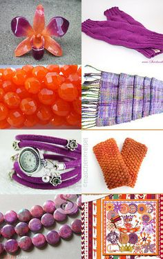Radiant Orchid meets Celosia Orange by Heike Adam on Etsy--Pinned with TreasuryPin.com