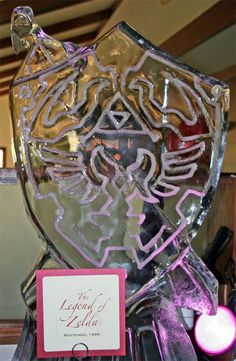 The Master Sword and Hylian shield ice luge.
