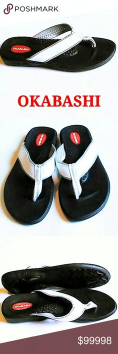 OKABASHI FLIP FLOPS Okabashi the American made flip flop with comfort and support! Great for everyday wear.  Size M (Medium). White with grey outline trim and black sole. Non-slip outer soles. EUC ASK ALL QUESTIONS B4 YOU BUY. Okabashi Shoes Sandals