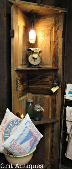 Corner Shelf made with an Old Door, corner door shelf. Corner Shelf made with an Old Door, corner door shelf. Wooden Doors Repurposed, Wooden Doors, Diy Corner Shelf, Diy Shelves, Rustic Furniture, Corner Shelves, Rustic Corner Shelf, Corner Door, Diy Door