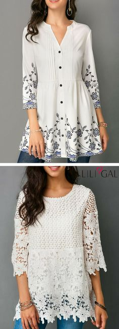 Button Front Printed White Three Quarter Sleeve Blouse/   Lace Panel White Three Quarter Sleeve Blouse   #liligal #top #blouse #shirts #tshirt
