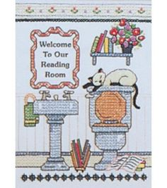 Dimensions Mini Stamped Cross Stitch Kit Reading Room Welcome