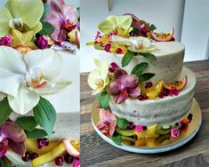 Hawaii themed cake with orchids (edible flowers) Edible Flowers, Themed Cakes, Orchids, Hawaii, Cupcakes, Desserts, Food, Tailgate Desserts, Cupcake