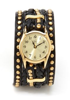 Sara Designs: Black/Gold Small Studded and Braided Leather Watch