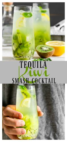 Tequila Kiwi Smash Cocktail | This boozy drink is the perfect way to toast summer! With notes of fresh kiwis, cool mint, tequila and club soda it's refreshing and smashing-ly delicious!! #tequila #kiwi #cocktail #summer #drink #easy #recipe #fruity via @nospoonn