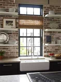 Modern style meets old-world charm. exposed brick kitchen backsplash with open shelving over apron sink and gray cabinets. -- open shelving brick behind Style At Home, Küchen Design, House Design, Interior Design, Design Ideas, Brick Design, Modern Interior, Bar Interior, Interior Ideas