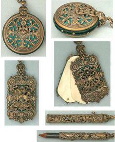 Ornate-Antique-English-Filigree-Sewing-Chatelaine-5-Attachments-Circa-1890s