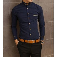 Slimming Shirt Collar Trendy Pocket Design Checked Stitching Long Sleeve Men's Cotton Shirt, NAVY, M in Shirts | DressLily.com
