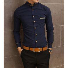 Slimming Shirt Collar Trendy Pocket Design Checked Stitching Long Sleeve Men's Cotton Shirt, NAVY, M in Shirts | DressLily.com
