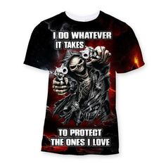 Protect The Ones I Love Sublimation T-Shirt - We Love Skull