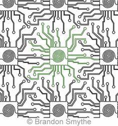 Digital Quilting Design Brandon's Circuit Board by Brandon Smythe. Neural Connections, Longarm Quilting, Circuit Board, Quilting Designs, Pattern Design, Design Art, Quilts, Stitch, Digital
