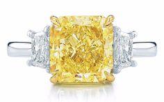 3.00Ct Certified Fancy Yellow Cushion Cut 3 Three-Stone Diamond Engagement Ring  #ThreeStone