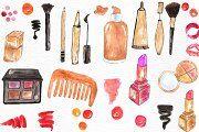 Watercolor makeup set - Illustrations - 3