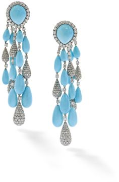 A pair of turquoise and diamond ear pendants, by Vita Each designed as a cabochon turquoise and circular-cut diamond cluster clip suspendin...
