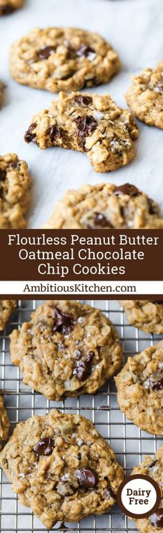 Flourless Peanut Butter Oatmeal Chocolate Chip Cookies | Ambitious Kitchen