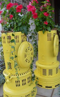 "Today while Jessica was at the store helping customers with all their vintage finds, I got busy and created a couple of new Farm Fresh items for the store.   First are 2 vintage 1930's kerosene heaters converted into planters. They are just lovely and such cheerful planters!    Approximate Measurements: 23.5"" H x 14"" across the base. www.facebook.com/barndancevintage"